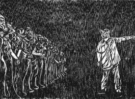 LEE Tek Khean (Malaysia), Teenager, Mist and Umbrella, woodcut on paper. 李迪權 (馬來西亞 ), 少年、煙霧與傘
