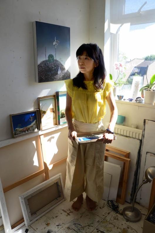 Rui Matsunaga in her studio in Yamaguchi, 2021