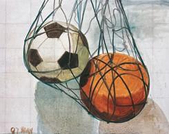 """Football and Basketball,"" Oil on canvas, 110 x 150 cm, 2007."