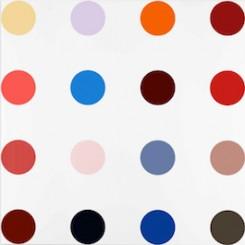"达明•赫斯特, ""Minoxidil,"" household gloss on canvas, 320 x 320 cm, 2005。"