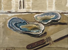 Georges Braque, Oysters and Knife, 1938 Oil on panel, 7 1/2 x 8 7/8 inches (19.1 x 22.5 cm) Courtesy of Acquavella Galleries Art (C) 2013 Artists Rights Society (ARS), New York / ADAGP, Paris