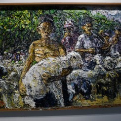 """Awiki, """"Man with sheep,"""" oil on canvas, 141 x 201cm, 2012, (courtesy: the artist)."""