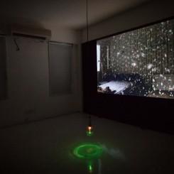 """Morakot (Emerald)"", Apichatpong Weerasethakul,  video installation and green light bulb, 10:50 min, 2007"