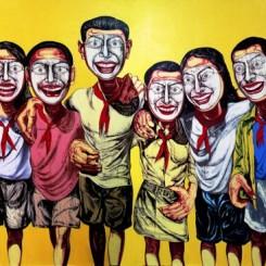"""Zeng Fanzhi, """"Mask Series No. 6"""", 200 x 360 cm, 1996曾梵志,""""面具系列6号"""",200 x 360 cm, 1996"""