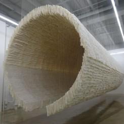 "Zhu Jinshi, ""Boat"", xuan paper, bamboo and cotton thread, 2012朱金石,《船》, 宣纸、竹、棉花,2012"