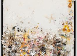 "Michael Chow aka Zhou Yinghua ~O-O~, ""Rose Garden II"", mixed Media: household paint with precious metals & trash, 2013 周英华,《玫瑰花园II》, 综合媒介:颜料、贵金属和垃圾, 244 x 183 cm, 2013"
