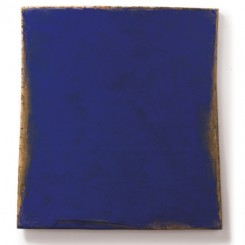 Su Xiaobai (b.1949) Three Colours - Clear Blue, 2013 Oil, lacquer, linen and wood  222 x 205 x 15 cm