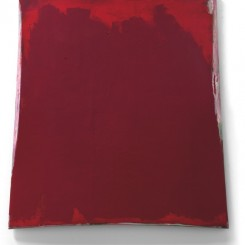 Su Xiaobai (b.1949) Three Colours - Crimson, 2013 Oil, lacquer, linen and wood 218 x 205 x 15 cm