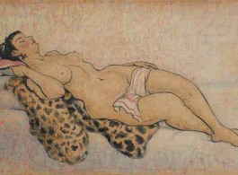 Pan Yuliang, Nude, 1967, Ink and watercolor on paper, 60 x 90.5 cm. Reserved rights, courtesy de Sarthe Gallery