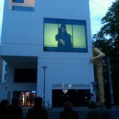 """Momentum Worldwide's Inside-Out outdoor film program for """"Pandamonium"""" at Collegium Hungaricum."""