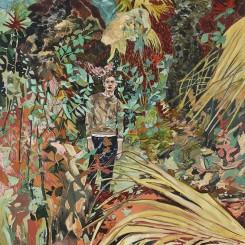 HERNAN BAS, Here's the story (Let's call him Nikolai...), 2014, acrylic on linen, 72 x 60 inches, 182.9 x 152.4 cm(Courtesy the artist and Lehmann Maupin, New York and Hong Kong)Hernan Bas,《Here's the story (Let's call him Nikolai)》,2014,布面丙烯,182.9 x 152.4厘米(图片由乐曼慕品画廊,纽约及香港提供)