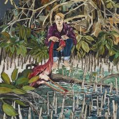 HERNAN BAS, Here's the story (Let's call him Kyle...), 2014, acrylic and starfish on linen, 50 x 40 inches, 127 x 101.6 cm(Courtesy the artist and Lehmann Maupin, New York and Hong Kong)Hernan Bas,《Here's the story (Let's call him Kyle...)》,2014,布面丙烯、海星,127 x 101.6厘米(图片由乐曼慕品画廊,纽约及香港提供)