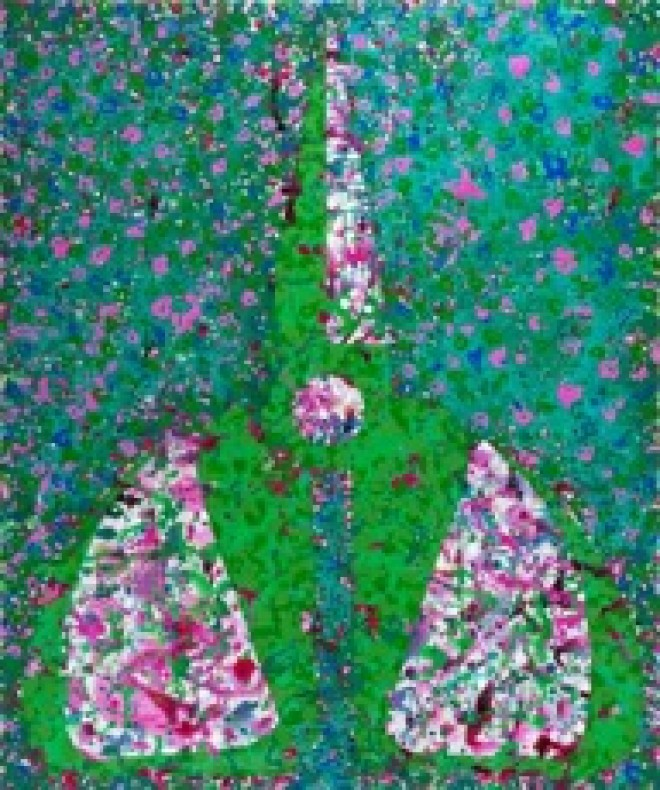 "Mao Xuhui, ""Green Scissors and Clover Flowers"", acrylic on canvas, 180 x 150 cm,  2012 毛旭辉 ,  《绿色剪刀和三叶花》 ,  布面丙烯, 180 × 150 cm, 2012年"