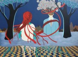 "Yu Hua, ""Pregnant Night"", acrylic on canvas, 150 x 160 cm, 2013 虞华 , 《孕夜-04》 , 布面丙烯, 150 × 160 cm, 2013年"
