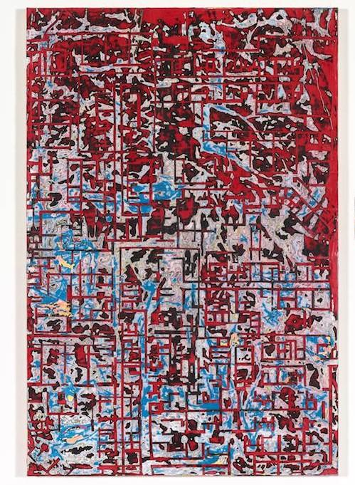 "Mark Bradford, ""Grids are not flat"", mixed media on canvas, 2014(© Mark Bradford; photo: Josh White; courtesy White Cube)"