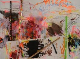 "Yang Shu, ""Smiling Service"", Acrylic, Tree Trunk and Battens on Canvas, 360×250cm, 2014杨述,《微笑服务》,布面丙烯、树干、木条,360×250cm,2014"