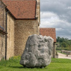 """Phyllida Barlow, """"Untitled, Squatboulder"""", 2014. Installation view in the exhibition """"Phyllida Barlow. GIG"""", Hauser & Wirth Somerset, 2014. © Phyllida Barlow. Courtesy the artist and Hauser & Wirth. Photo: Alex Delfanne."""