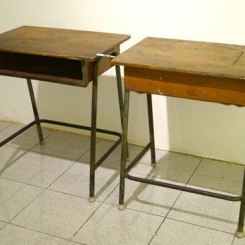 """""""Nothing More To Burn"""",  cigarrette and student table, 40x130x70 cm, 2014"""