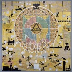 "Gonkar Gyatso, ""Shangri La"", Mixed media collage and dibond on aluminium honeycomb panel, 304.8 x 304.8 cm cm,2014"