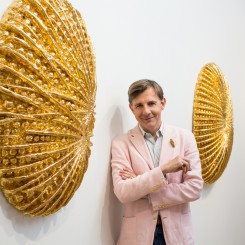 "Johan Creten at his exhibition ""Fireworks"" at Galerie Perrotin, Hong Kong, 2014 (Photo: Joyce Yung; © Creten / ADAGP, Paris & Sack, Seoul, 2014; image courtesy Galerie Perrotin)"