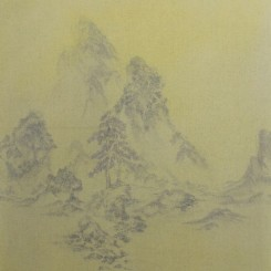 """Zhang Tianjun, """"Two Pines with Seven Color 3"""", 79 × 69 cm,  oil on canvas, 2014张天军,《双松七色图3》,布面油画,79 × 69 cm,2014"""