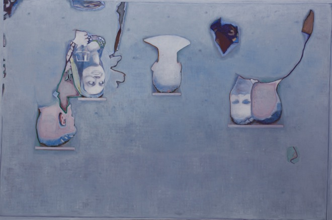"""Tang Yongxiang, """"Blue Background With a Few Profiles"""", oil on Canvas, 200×300cm, 2013 唐永祥,《蓝色背景上有些头像》,布面油画,200×300cm,2013"""