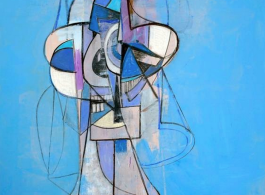 """George Condo """"Out of the Blue"""", Acrylic, charcoal, and pastel on linen, Unframed: 157.5 x 147.3 cm (62 x 58 in), 2013 (courtesy the artist and Simon Lee Gallery)"""