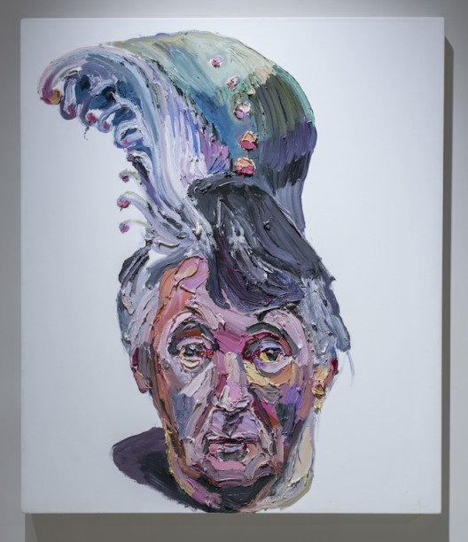"""Ben Quilty, """"Dad with peacock hair"""", oil on linen, 135 x 115 cm, 2013. Photo by Mike Pickles / studioEAST."""