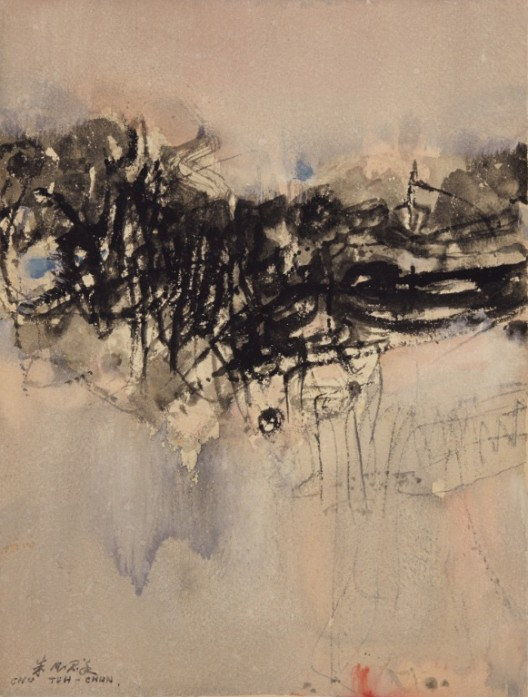 Lot 拍品编号 22 CHU TEH-CHUN 朱德群 (ZHU DEQUN, French/Chinese, 1920-2014) Untitled 《无题》 ink and watercolour on paper水墨 水彩 纸本 38 x 28 cm. (15 x 11 in.) Executed in the 1960s 约1960 年代作 HK$  300,000-  500,000 US$   38,500-   64,100