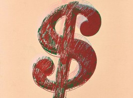 Lot 拍品编号 28 ANDY WARHOL 安迪.沃荷 (AMERICAN, 1928-1987) Dollar Sign 《美元符号》 synthetic polymer and silkscreen inks on canvas人造凝胶  丝网墨  画布 40 x 33.5 cm. (15 3/4 x 13 1/4 in.) Executed in 1981, 1981 年作 HK$ 2,000,000- 2,500,000 US$  256,400-  320,500 © 2015 The Andy Warhol Foundation for the Visual Arts, Inc. / Artists Rights Society (ARS), New York.