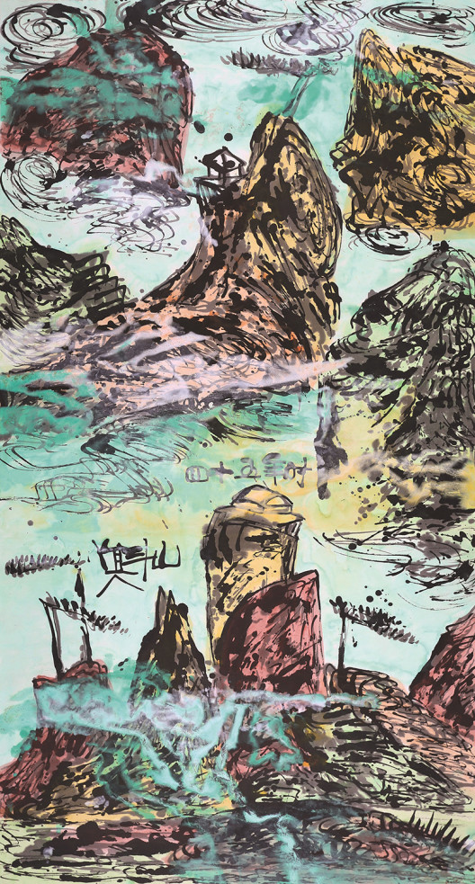 Lot 拍品编号 43 WESLEY TONGSON唐家伟 (Chinese, 1957 - 2012) Spiritual Mountains 5 《灵山5》 ink and colour on paper水墨 设色 纸本 179 x 97 cm. (70.3 x 38 in.) Executed in 2012, 2012年作 HK$   60,000-   80,000 US$    7,700-   10,300