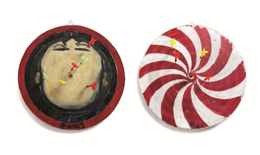 Lot 拍品编号 97 ZHANG ENLI 张恩利 (Chinese, B. 1965) Dartboards 《标靶》 mixed media on wood 综合媒材 木板 diameter: 40 cm. (15 3/4 in.) Executed in 2005, 2005年作 HK$  150,000-  200,000 US$   19,200-   25,600