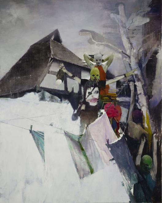 """Justin Mortimer, """"Joker,"""" oil on canvas, 240 x 190 cm, 2014."""