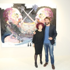 """Pearl Lam and artist Ben Quilty at the opening of """"Straight White Male"""" at Pearl Lam Galleries, Hong Kong."""