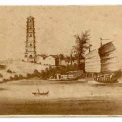 5. 广州珠江及琶洲塔,香港瑸和照相馆,1870年代,翻拍自外销画的名片格式蛋白照片 Pa-Chow PogodaPun Woo
