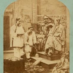 6. 西方人想象中的中国宫廷生活,佚名摄影师,1850-1860年代,蛋白立体照片 Albumenprintstereoview