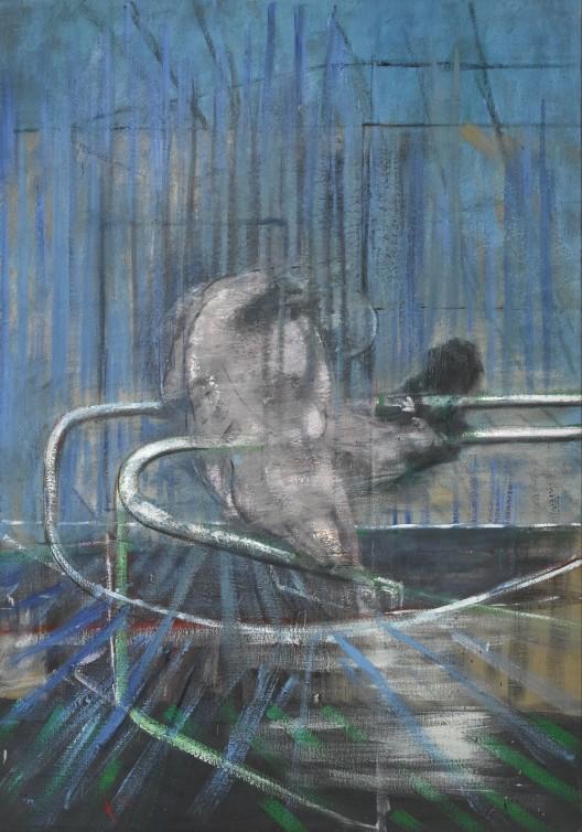"Francis Bacon, Untitled (""Crouching Nude on Rail""), oil on canvas, 196.6 x 137 cm, 1952. Courtesy Galerie Gmurzynska AG."