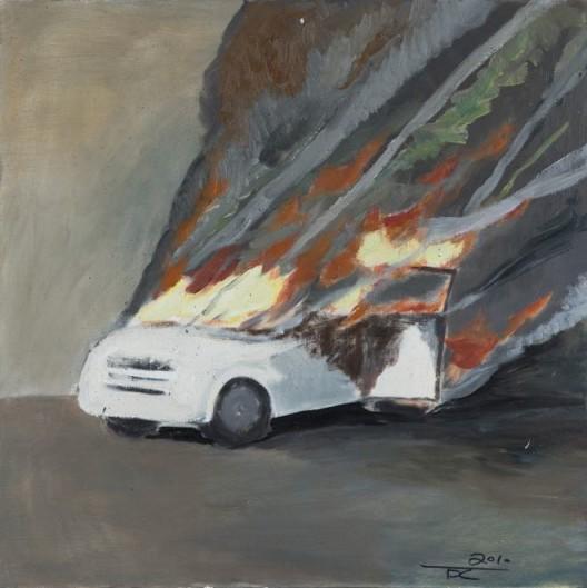 "Tang Dixin, ""Waiting,"" oil on canvas, 50 x 50 cm, 2010唐狄鑫,《等待》,布面油画,50 x 50 cm,2010"
