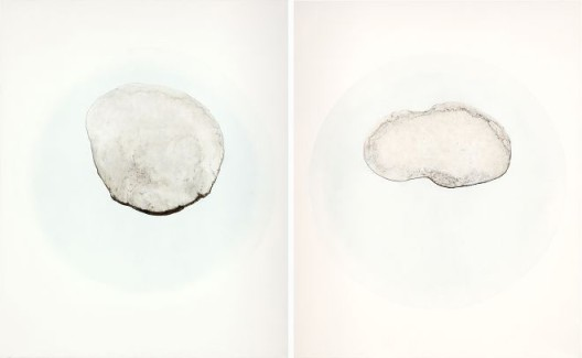 《茶渍 T23》,布面油画,100*80cm*2panels,2013
