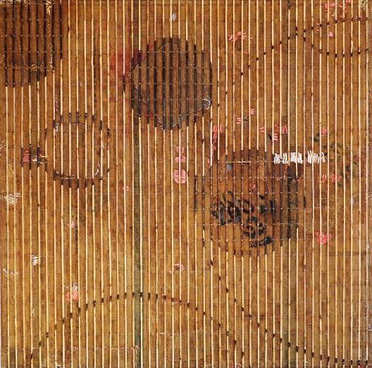 "Sopheap Pich, ""Far from the Sun,"" bamboo, rattan, metal wire, used burlap, plastics, 200 x 200 x 10 cm, 2014."