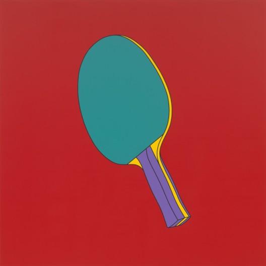 "Michael Craig-Martin, ""Untitled (table tennis paddle)"", acrylic on aluminium, 200 x 200 cm (unframed), 2014, ©Michael Craig-Martin迈克尔·克雷格-马丁,《无题(乒乓球拍)》,铝板丙烯,200 x 200 cm(无框),2014,©Michael Craig-Martin"