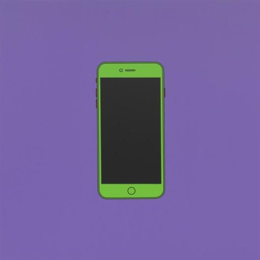 "Michael Craig-Martin, ""Untitled (iPhone)"", acrylic on aluminium, 200 x 200 cm (unframed), 2014, ©Michael Craig-Martin迈克尔·克雷格-马丁,《无题(iPhone)》,铝板丙烯,200 x 200 cm(无框),2014,©Michael Craig-Martin"