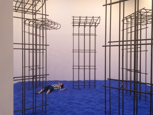 """""""Speculating on the Blue"""", a nice installation with a terrible tittle, by Flaka Haliti, for Kosovo. A shame the child was just passing by, it would have been a great addition to the work"""