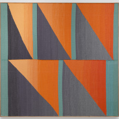 """Brent Wadden, """"5 Green Bars (double fade)"""", hand woven fibers, wool, cotton and acrylic on canvas, 180.3 x 188 cm, 2015. Courtesy of the artist; Peres Projects, Berlin; and Mitchell-Innes & Nash, New York."""