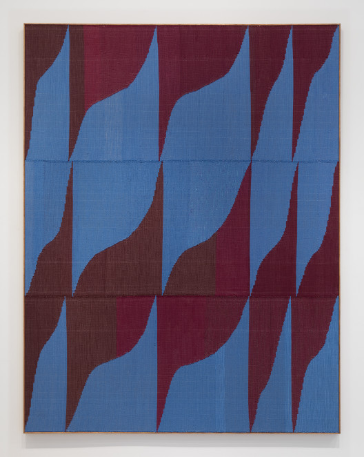 """Brent Wadden, """"Blue Wine"""", hand woven fibers, wool, cotton and acrylic on canvas, 271.8 x 208.3 cm. Courtesy of the artist; Peres Projects, Berlin; and Mitchell-Innes & Nash, New York."""