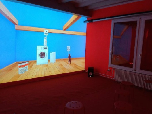 YU Hong Lei installation at Antenna Space booth, LISTE 2015