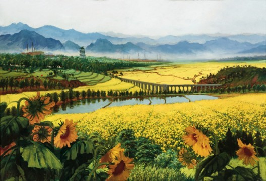 吴作人,《战地黄花分外香》,布面油画,118 × 175.5 cm,1977