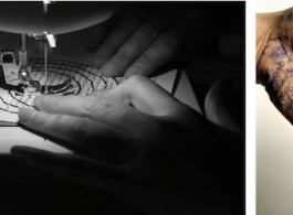左:倪海峰(b.1964年),《同义反覆》,2014年,高清录像装置,版数:1/3+1个艺术家版本 右:倪海峰(b.1964年),《作为瓷器出口历史一部分的自画像》,1999年,摄影作品, 142 x 120 cm (55 7/8 x 47 1/4 in.) 版数:3/3+1个艺术家版本