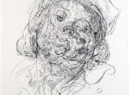 Drawing 40 (after Greuze/Jordaens) 2014 ink on polypropylene over Indian ink on paper 50 x 36 cm (Courtesy the artist and Galerie Max Hetzler Berlin | Paris. Photo: Prudence Cummings Limited)