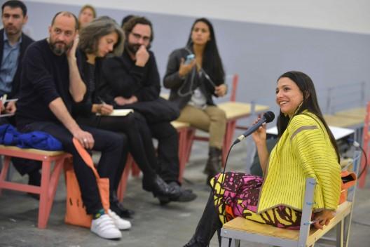 ArtBo Director Maria Paz Gaviria addresses visitors to the fair's 11th edition.
